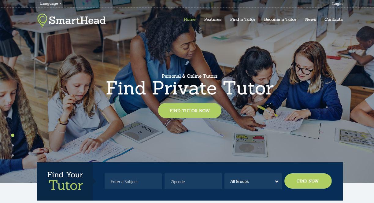 Smarthead - mẫu website trung tâm ngoại ngữ